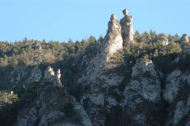 les scultures naturelles du plateau du Causse Méjan à la sortie des gorges du Tarn