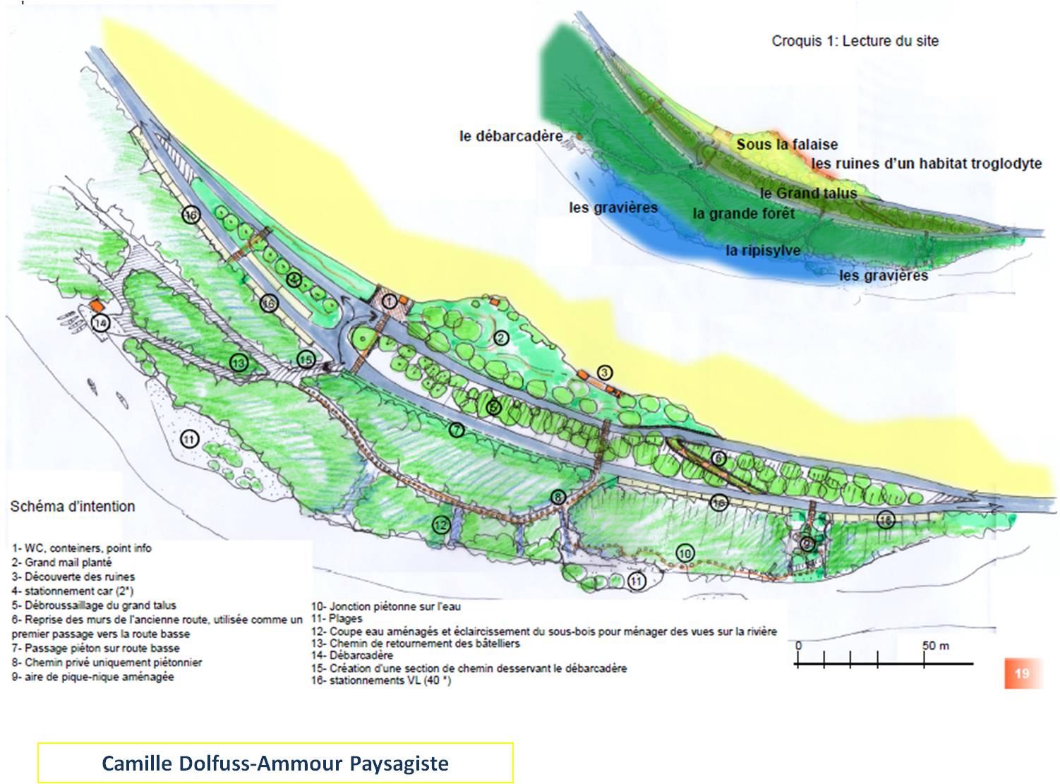 plan d'organisation du cœur de site au cirque des Baumes